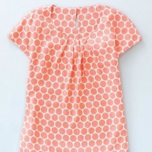 Boden Peach Polka Dot Round Neck Shirt, 8, EUC